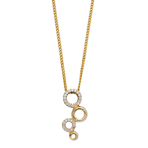Diamond Bubble Necklace in 9ct Yellow Gold