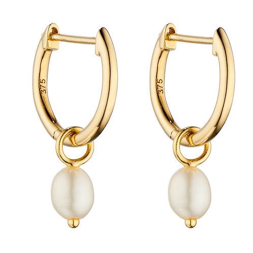 Fresh Water Pearl Assembled Hoop Earrings in 9ct Yellow Gold