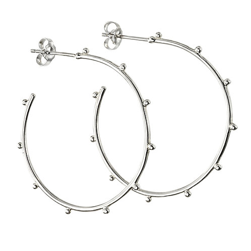 Silver Studded 3/4 Hoops