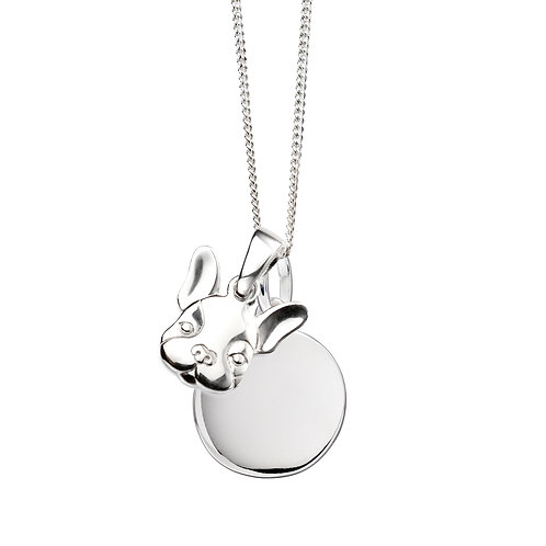 Dog and Plain Disc Necklace
