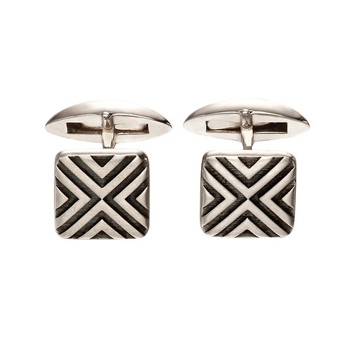 Sterling Silver Oxidised Linear Cufflinks