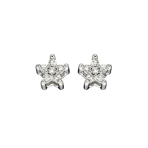Diamond Star Earrings in 9ct White Gold