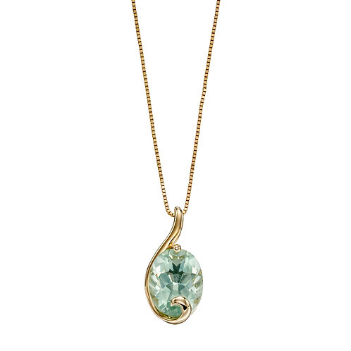 Green Fluorite Swirl Necklace in 9ct Yellow Gold