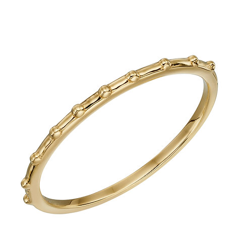 Stippled Edge Band Ring in 9ct Yellow Gold