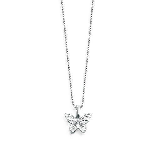 D for Diamond Sterling Silver Diamond Set Filigree Butterfly Necklace