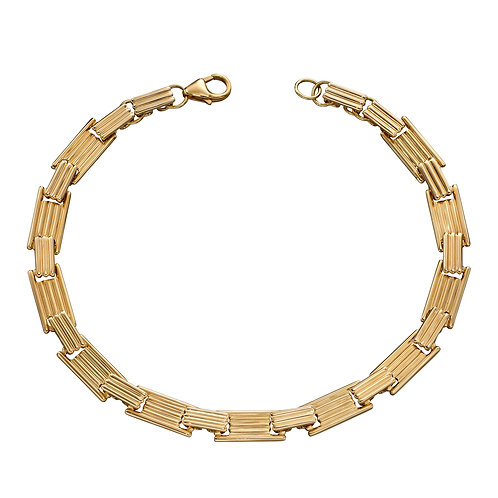 Column Inspired Long Bar Bracelet in 9ct Yellow Gold