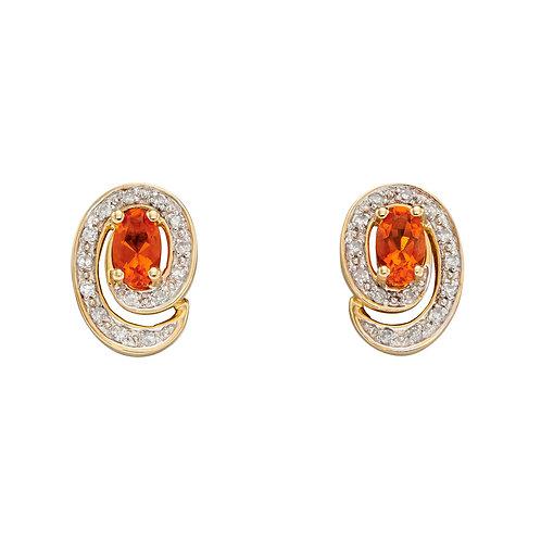 9ct Gold Fire Opal Stud Earrings