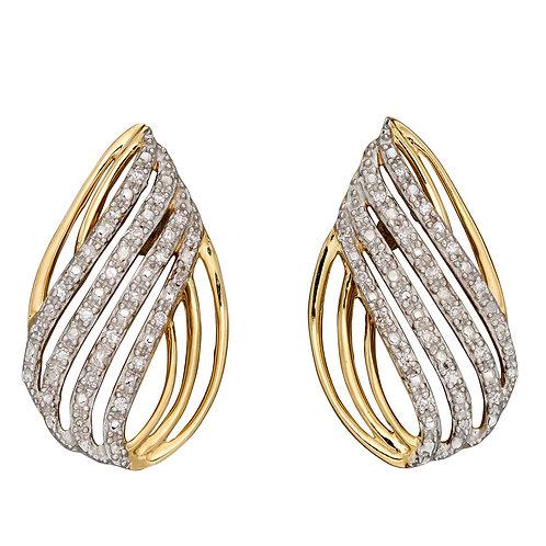 Teardrop Shaped Earrings with Diamonds in 9ct Yellow Gold