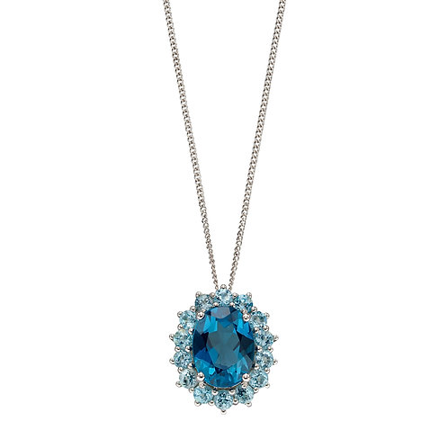 Blue Topaz Necklace in 9ct White Gold