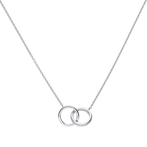 Silver Flush Set Cubic Zirconia Interlinking Circle Rings Necklace