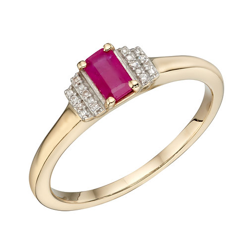Baguette Precious Stone and Diamond Ring in 9ct Gold