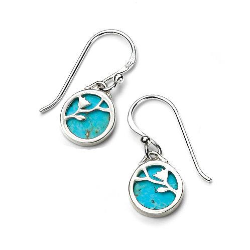 Turquoise Disc Flower Pattern Drop Earrings