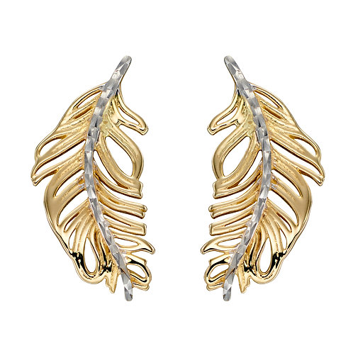 Feather Earrings in 9ct Yellow and White Gold