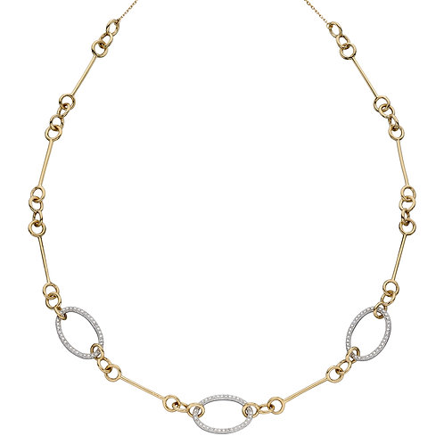 Oval Bar Necklace with Diamonds in 9ct Yellow and White Gold