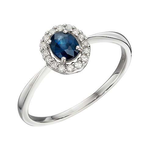 Precious Stone and Diamond Cluster Ring in 9ct White Gold