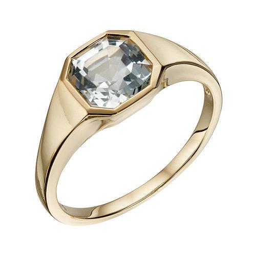 Asscher Cut White Topaz Ring in 9ct Yellow Gold