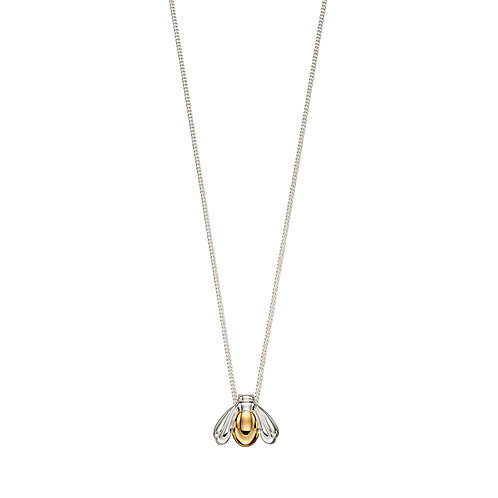 Sterling Silver Bee Necklace with Yellow Gold Plating