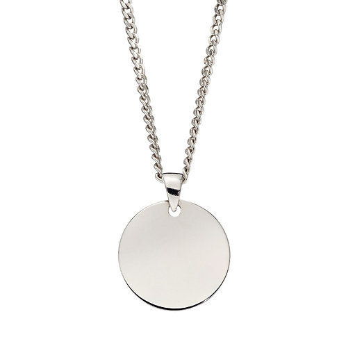 Plain Engravable Disc Necklace in 9ct White Gold