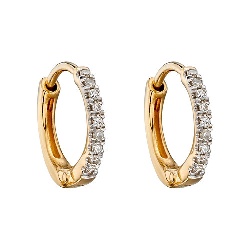 9ct Gold Diamond Huggie Earrings