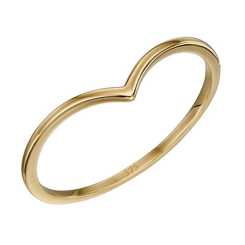 V Shape Band Ring in 9ct Yellow Gold