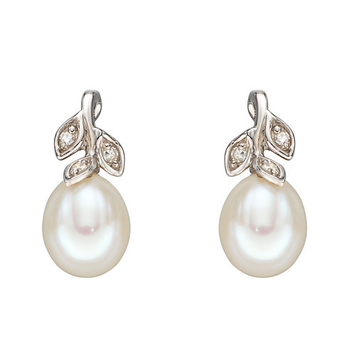 Fresh Water Pearl and Diamond Leaf Earrings in 9ct White Gold