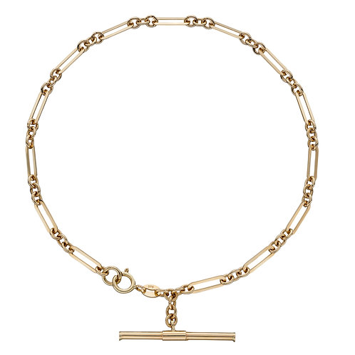 T-Bar Chain Bracelet in 9ct Yellow Gold
