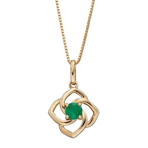 Cut Out Flower Necklace with Emerald in 9ct Yellow Gold