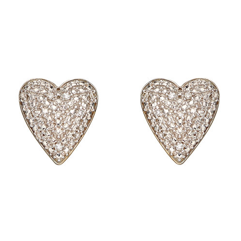 Pave Diamond Heart Earrings in 9ct Yellow Gold