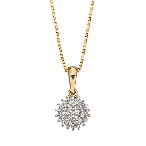 Urchin Diamond Cluster Necklace in 9ct Yellow Gold