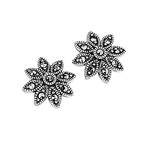 Marcasite Daisy Sterling Silver Stud Earrings