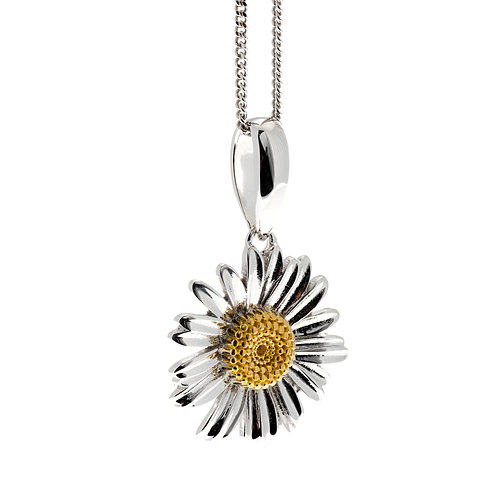 Rhodium and Gold Plated Daisy Pendant