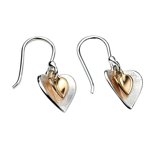 Gold Plated Double Heart Sterling Silver Drop Earrings