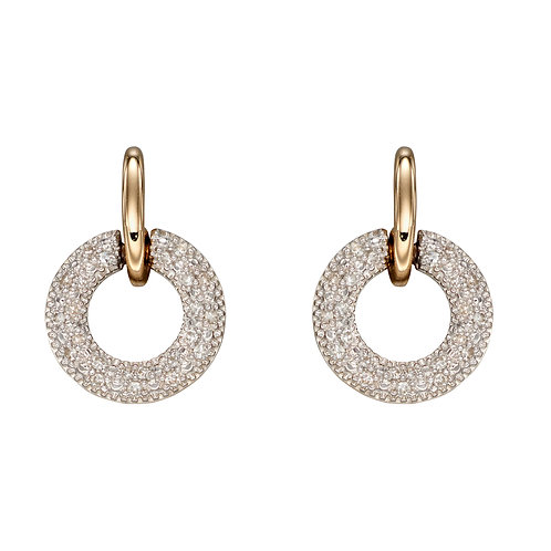 Diamond Donut Shaped Earrings in 9ct Yellow Gold