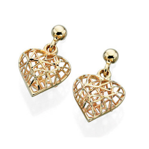 9ct Yellow Gold Caged Heart Earrings
