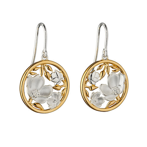 Cherry Blossom Earrings With Yellow Gold Plating