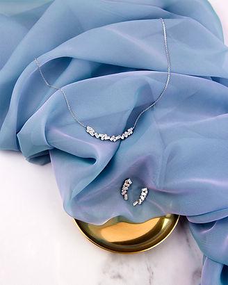 Diamonfire jewellery, stone cluster earrings, stone cluster necklace, matching necklace and earrings, diamond alternative, baguette cut gems