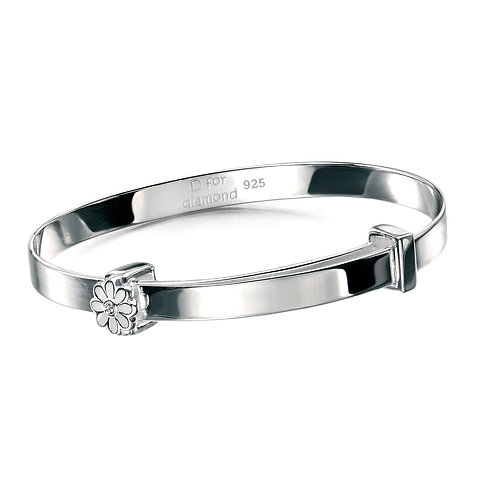 Silver White Daisy Bangle