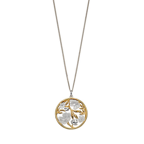 Cherry Blossom Pendant With Yellow Gold Plating
