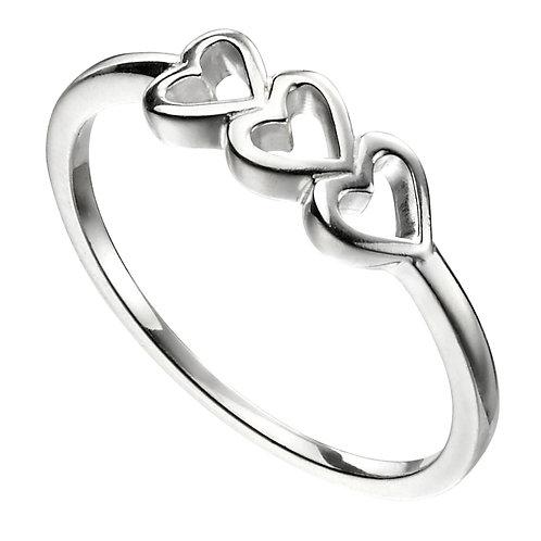 Triple Heart Silver Ring