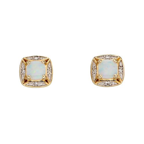 9ct Gold Opal And Diamond Stud Earrings