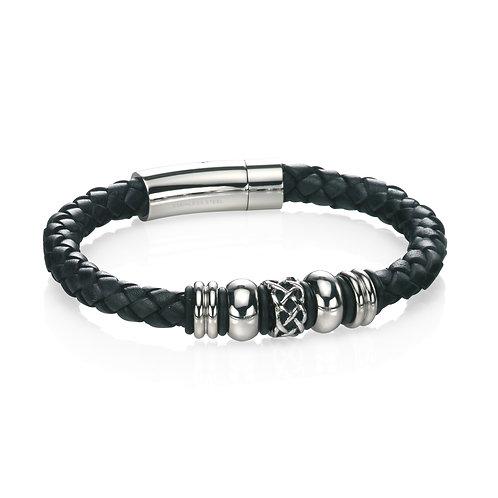 Fred Bennett Stainless Steel Black Leather Celtic Bead Bracelet