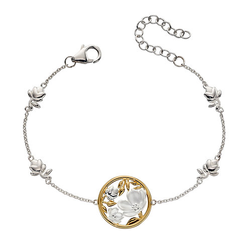 Cherry Blossom Bracelet With Yellow Gold Plating