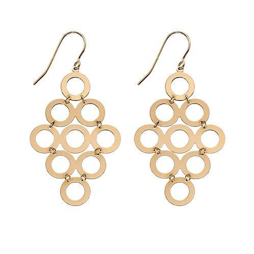 9ct Yellow Gold Multi Circle Dangle Earrings