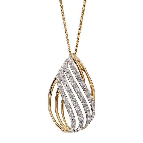 Teardop Shaped Necklace with Diamonds in 9ct Yellow Gold