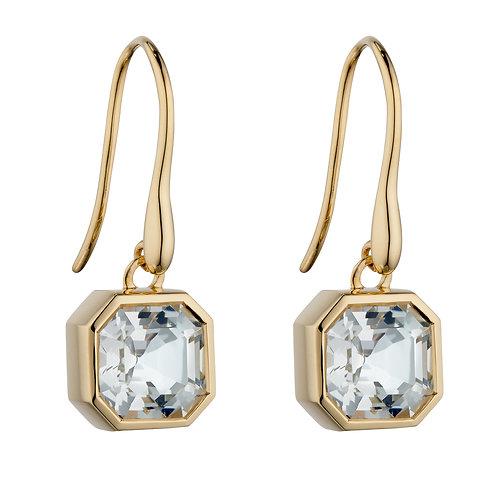 Asscher Cut White Topaz Drop Earrings in 9ct Yellow Gold