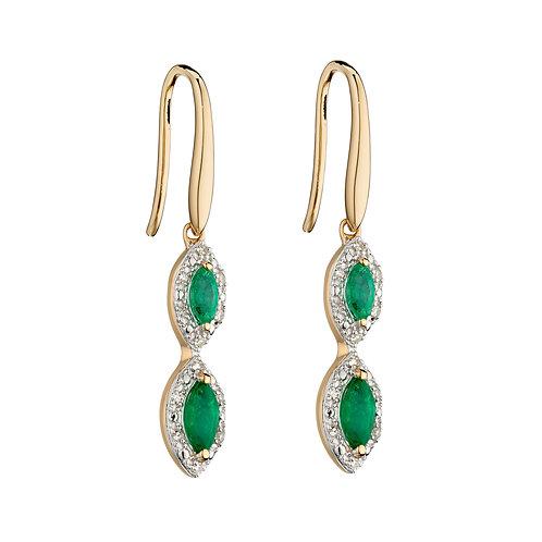 Precious Stone Drop Earrings with Diamonds in 9ct Yellow Gold
