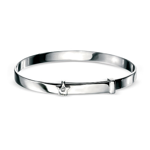 Sterling Silver Diamond Set Star Baby Bangle