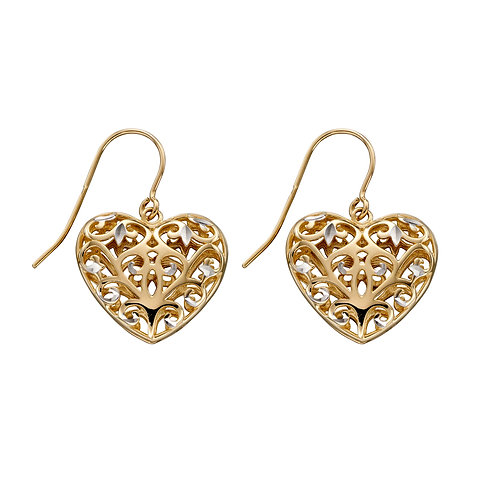 9ct Gold Filigree Heart Earrings