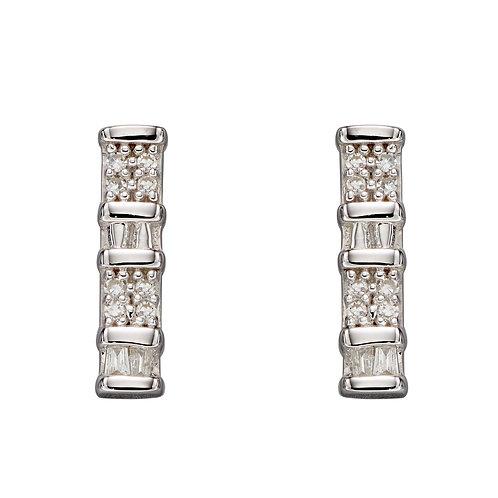 Baguette Bar Diamond Earrings in 9ct White Gold