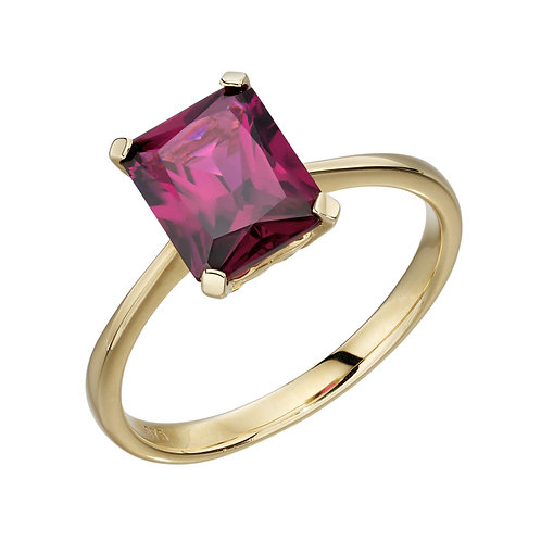 9ct Gold Rhodolite Garnet Emerald Cut Cocktail Ring